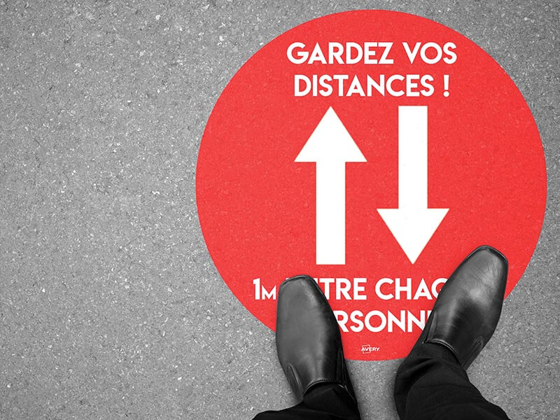 Stickers pour sol - rond - rouge
