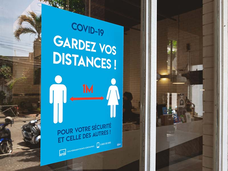 Affiches adhésives signalisation COVID